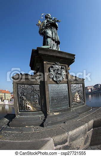Statue of John of Nepomuk on Charles Bridge - csp27721555