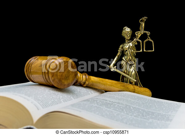 statue of justice on a black background - csp10955871