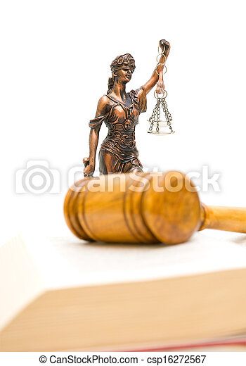 Statue of justice on a white background. vertical photo. - csp16272567