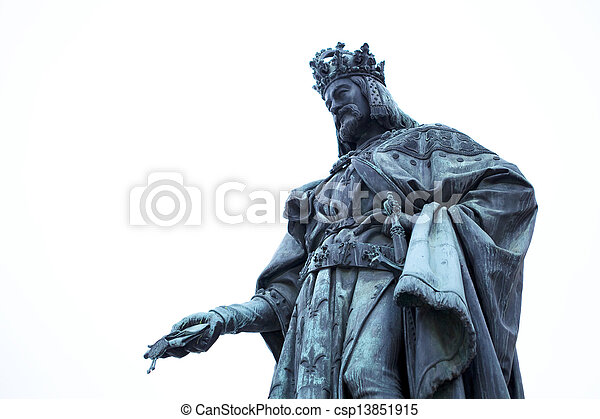 Statue of King Charles in Prague - csp13851915