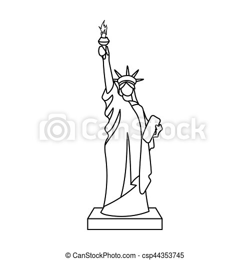 Statue Of Liberty Icon In Outline Style Isolated On White Drawing