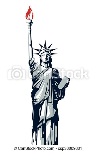 statue of liberty icon simple flat design full body blue vector rh canstockphoto com statue of liberty clipart black and white statue of liberty clipart black and white