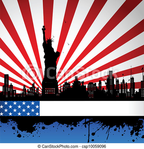 Statue of Liberty on American Flag Backdrop - csp10059096