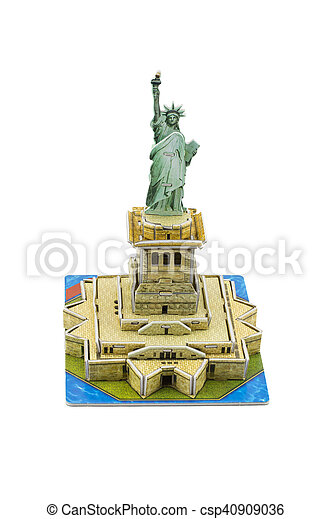 Statue of Liberty paper model on white background