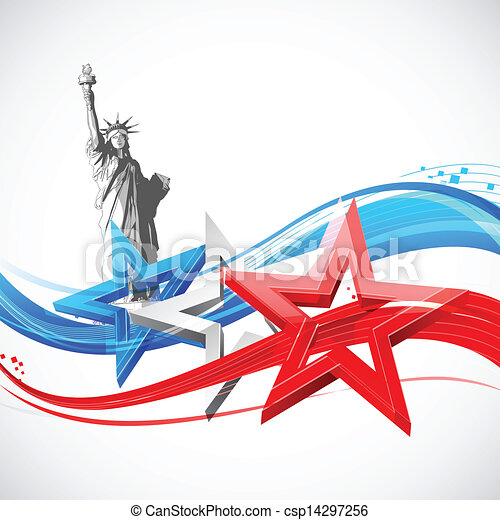 Statue of Liberty with American Flag - csp14297256