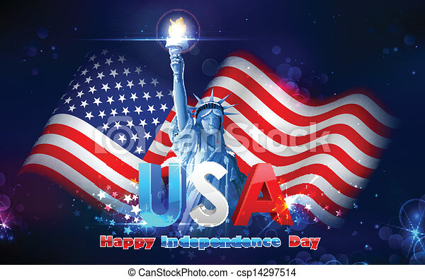 Statue of Liberty with American Flag - csp14297514