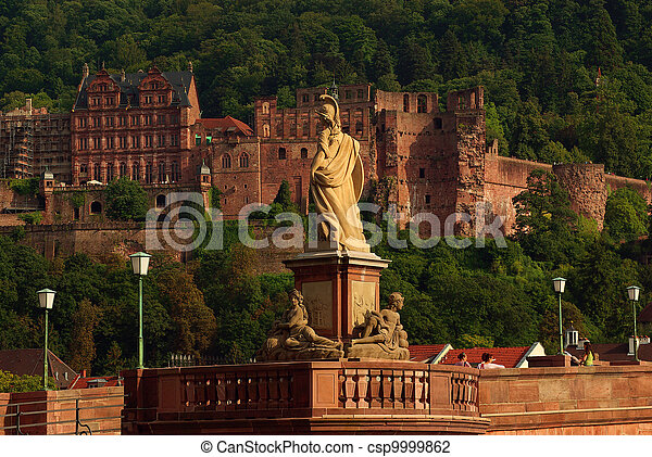 Statue of Minerva on the Old Bridge and castle in Heidelberg, Germany - csp9999862