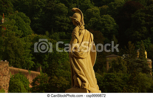 Statue of Minerva on the Old Bridge in Heidelberg, Germany - csp9999872