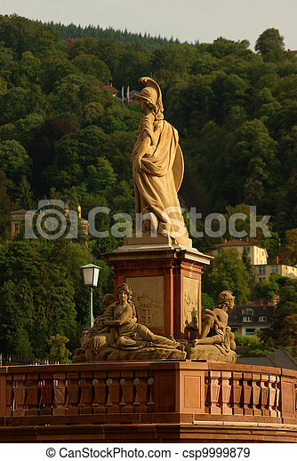 Statue of Minerva on the Old Bridge in Heidelberg, Germany - csp9999879