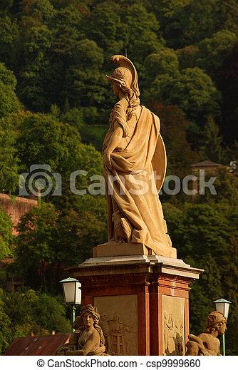 Statue of Minerva on the Old Bridge in Heidelberg, Germany - csp9999660