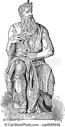 Statue of Moses, vintage engraving - csp9585646