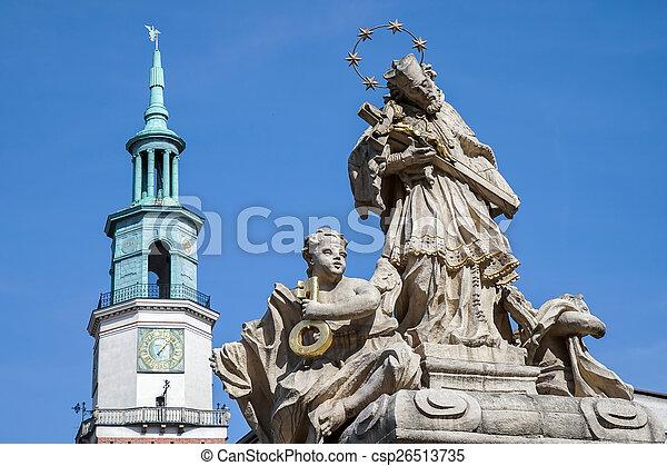 Statue of St. John Nepomucene in Poznan - csp26513735