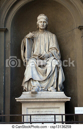Statue of the famous architect Arnolfo di Cambio- Florence - csp13136259