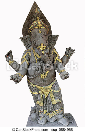 Statue of the hinduist god Ganesha on a white background - csp10884958