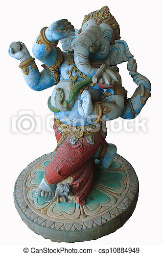 Statue of the hinduist god Ganesha on a white background - csp10884949