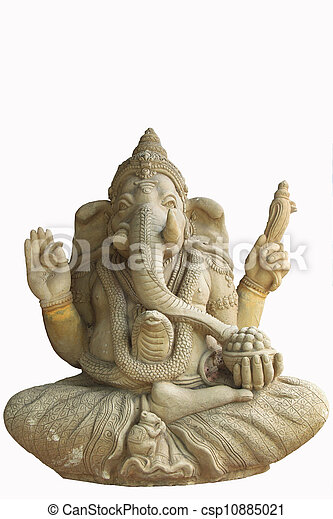 Statue of the hinduist god Ganesha on a white background - csp10885021