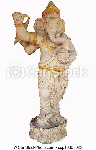 Statue of the hinduist god Ganesha on a white background - csp10885022