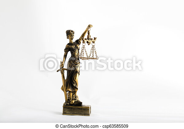 Statue of Themis on a white background. - csp63585509