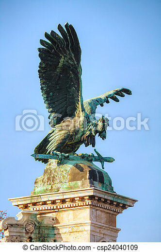 Statue of Turulbird at the Royal castle in Budapest - csp24040109