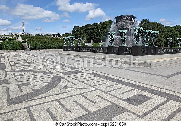 Statues in Vigeland park in Oslo, Norway - csp16231850