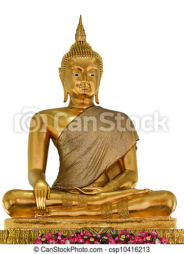 Statues of Buddha in gold on a white background. - csp10416213