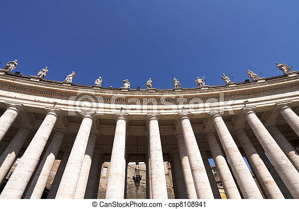 Statues of saints in the colonnade, Vatican - csp8108941