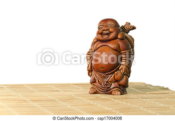 Statuette of laughing Buddha on a white background - csp17004008