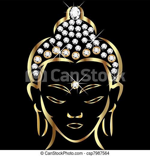 statut, bouddha, or - csp7987564