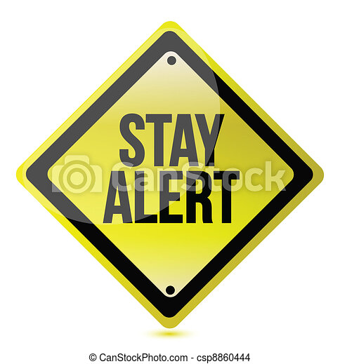 Stay alert yellow illustration - csp8860444