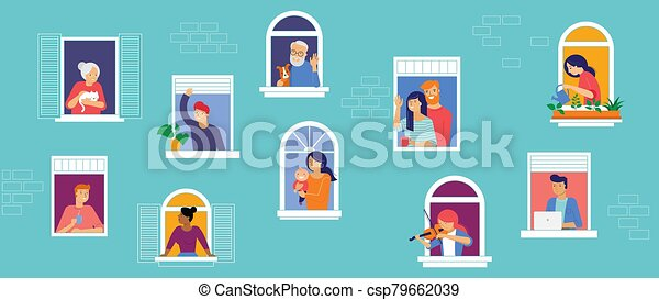Stay at home, concept design. Different types of people, family, neighbors in their own houses. Self isolation, quarantine during the coronavirus outbreak. Vector flat style illustration stock illustration - csp79662039