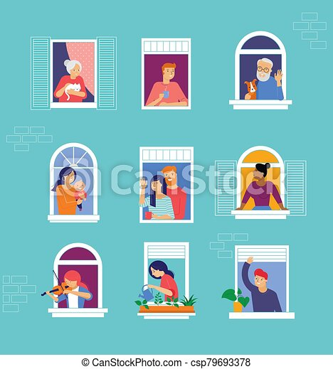 Stay at home, concept design. Different types of people, family, neighbors in their own houses. Self isolation, quarantine during the coronavirus outbreak. Vector flat style illustration stock illustration - csp79693378
