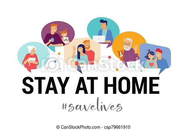 Stay at home, concept design. Different types of people, family, neighbors in their own houses. Self isolation, quarantine during the coronavirus outbreak. Vector flat style illustration stock illustration - csp79661910