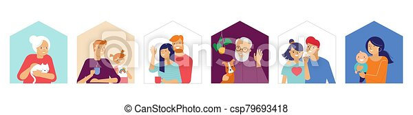 Stay at home, concept design. Different types of people, family, neighbors in their own houses. Self isolation, quarantine during the coronavirus outbreak. Vector flat style illustration stock illustration - csp79693418