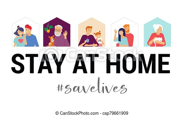 Stay at home, concept design. Different types of people, family, neighbors in their own houses. Self isolation, quarantine during the coronavirus outbreak. Vector flat style illustration stock illustration - csp79661909
