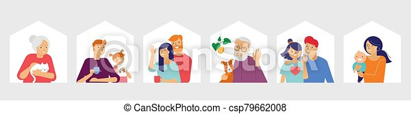 Stay at home, concept design. Different types of people, family, neighbors in their own houses. Self isolation, quarantine during the coronavirus outbreak. Vector flat style illustration stock illustration - csp79662008