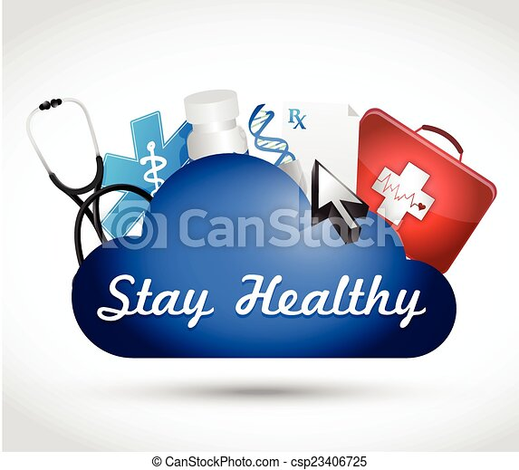 stay healthy cloud medicine illustration - csp23406725
