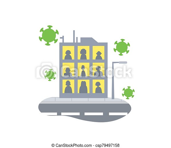 Stay home concept icon. People staying home due to quarantine. Stay home during the coronavirus epidemic. Coronavirus outbreak concept. Flat vector illustration, isolated. - csp79497158