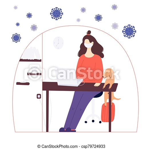 Stay home global concept. A woman is working at home on the laptop in a period of self isolation and social distancing during covid virus epidemic. The pet is very happy to spend time with the owners - csp79724933
