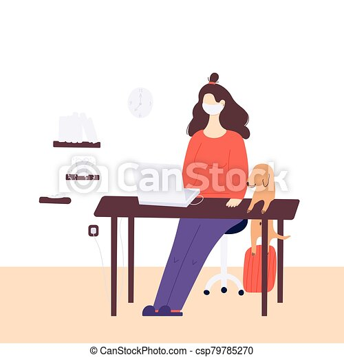 Stay home global concept. A woman is working at home on the laptop in a period of self isolation and social distancing during covid virus epidemic. The pet is very happy to spend time with the owners - csp79785270