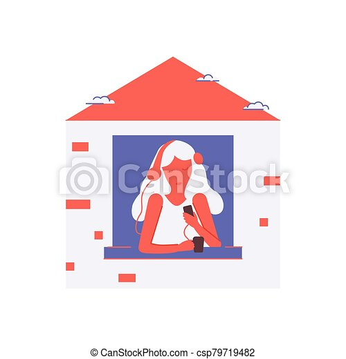 Stay home global. Women at home listening to podcasts in a period of self isolation and social distancing during covid virus epidemic. Self isolation, quarantine due to coronavirus. - csp79719482
