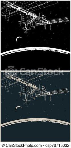 stazione, spazio, pianeta, orbita - csp78715032