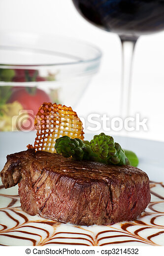 steak, asparagus, green, tip, potato, wine, red, salad, glass, sauce, spiderweb, gravy ,closeup, vegetable, brown, gourmet, delicious ,beef ,food ,white background ,meat ,meal ,grilled ,dinner ,garnish ,plate ,cuisi - csp3214532