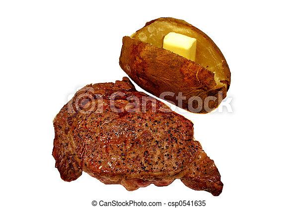 Steak und gebackene Kartoffel - csp0541635