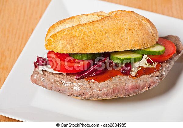 steak sandwich on a white plate - csp2834985