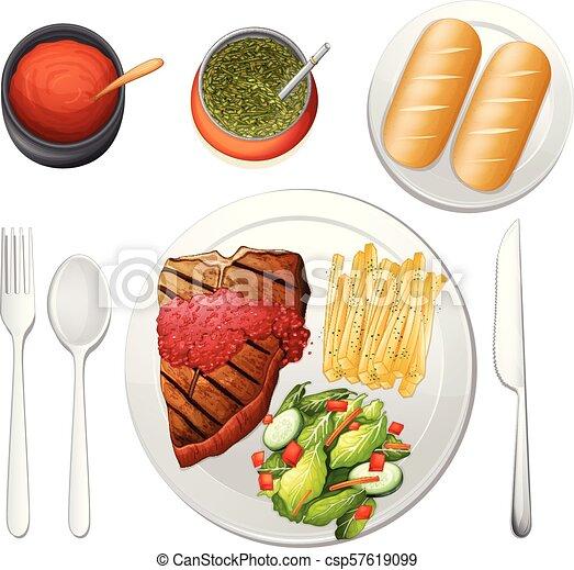 Steak Set on White Background - csp57619099