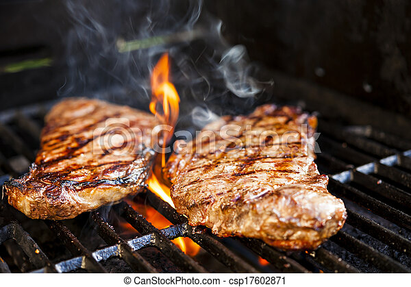 Steaks on barbecue - csp17602871