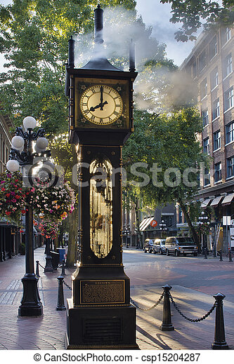 Steam Clock at Gastown Vancouver in the Morning - csp15204287
