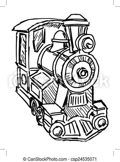 Hand Drawn Illustration Of A Steam Engine Train Vectors Illustration