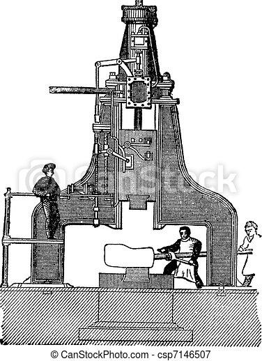 Steam hammer, vintage engraving. - csp7146507