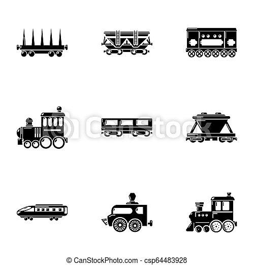 Steam locomotive icons set, simple style - csp64483928